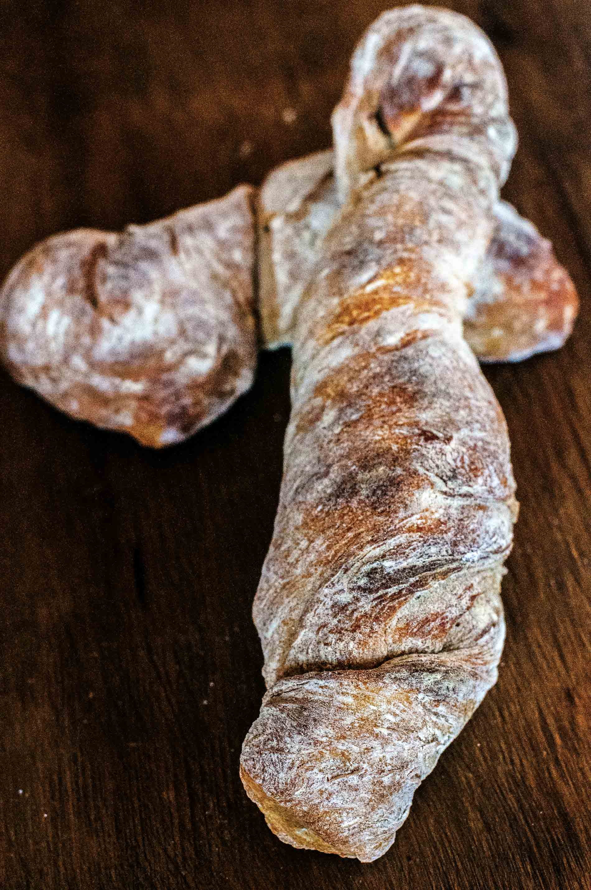 Twisted Sourdough Baguette